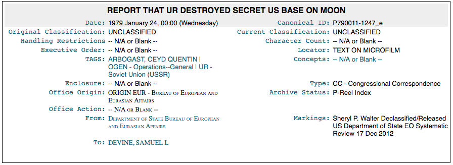 Informe de que UR destruyó la base secreta de la Luna