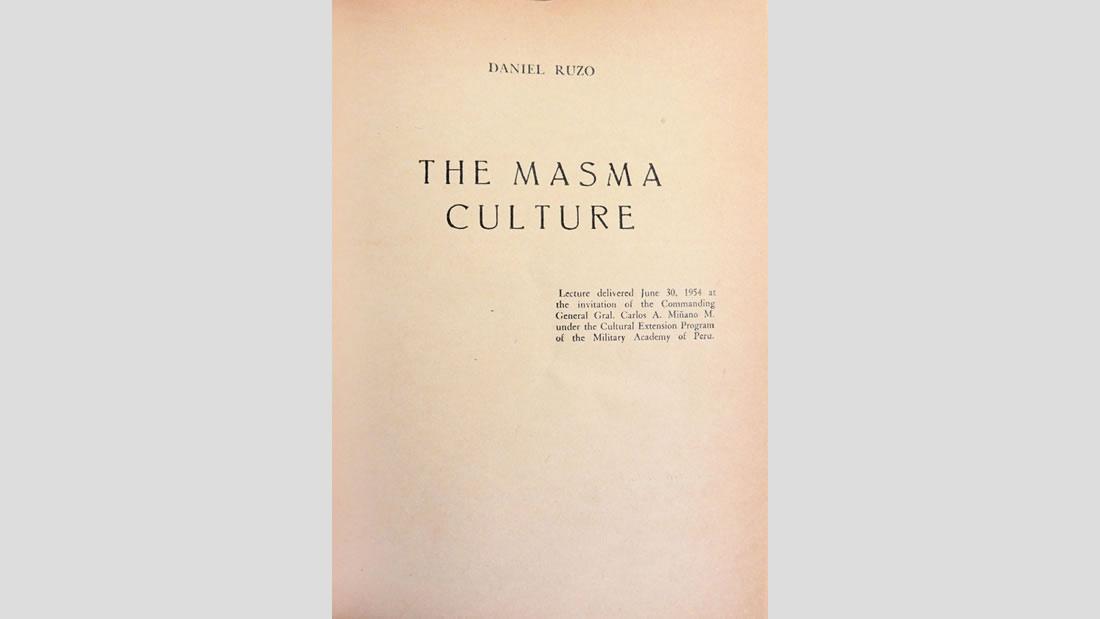 Cultura Masma, el legado bibliográfico de Daniel Ruzo