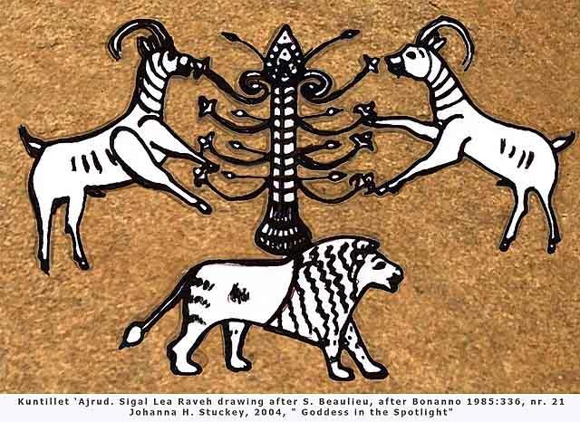 Ilustración de los símbolos de Asherah: Árbol sagrado, cabras cornudas y el león