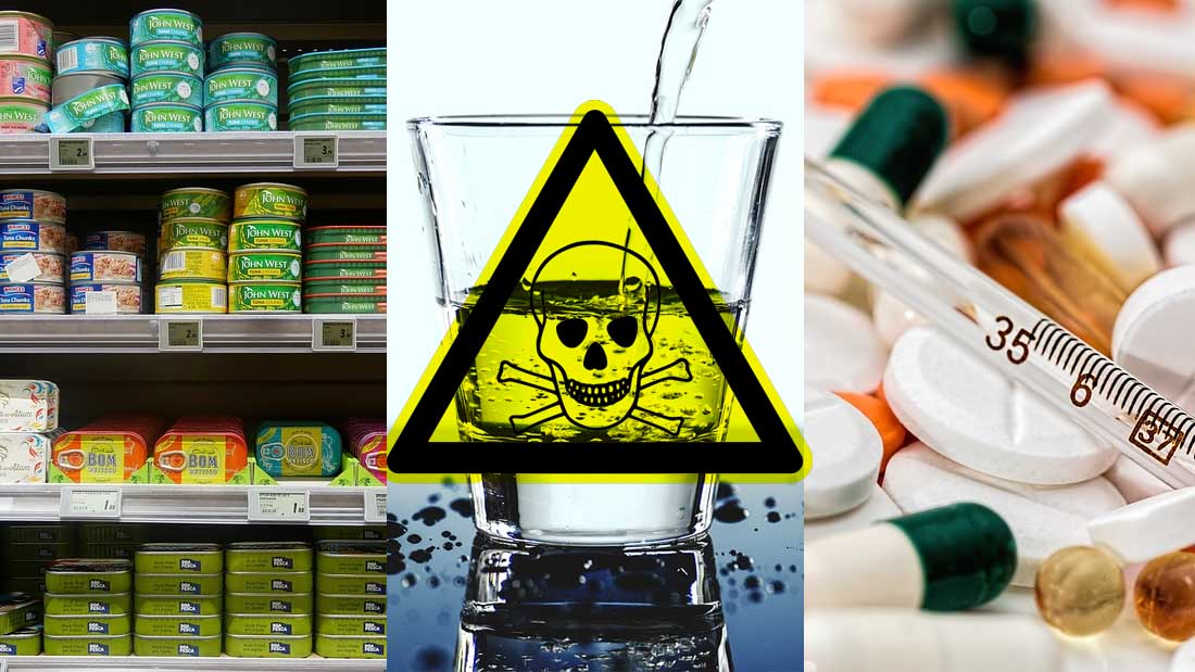 Tóxicos en alimentos industrializados, en el agua potable y en medicamentos