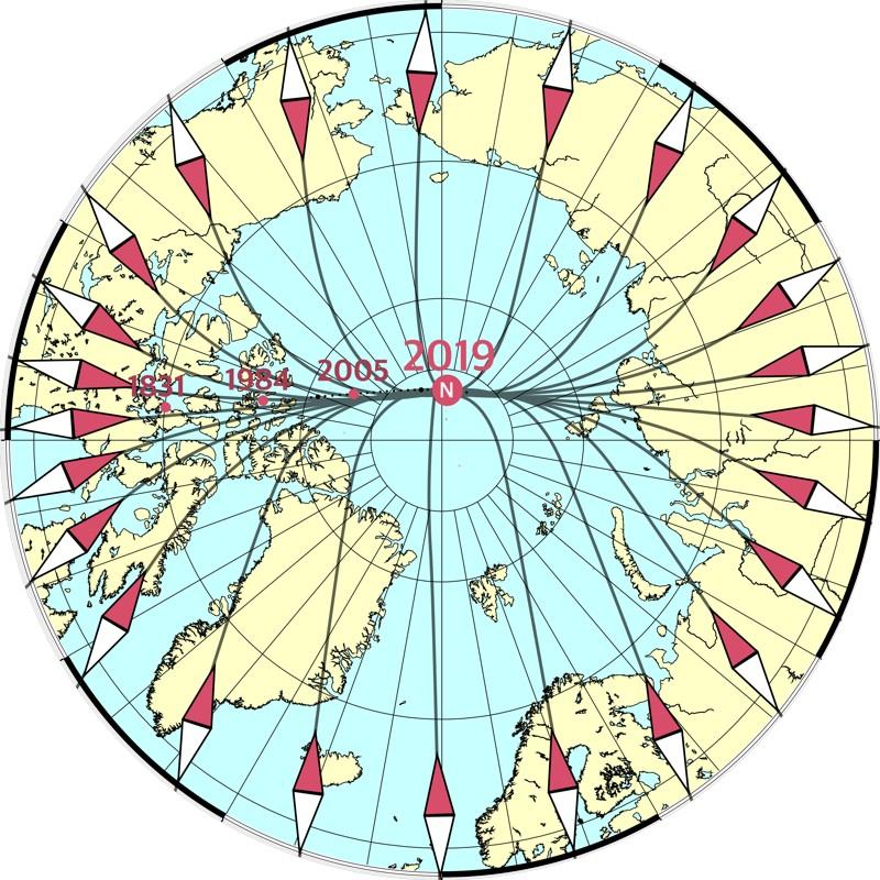 Polo Norte magnético en movimiento