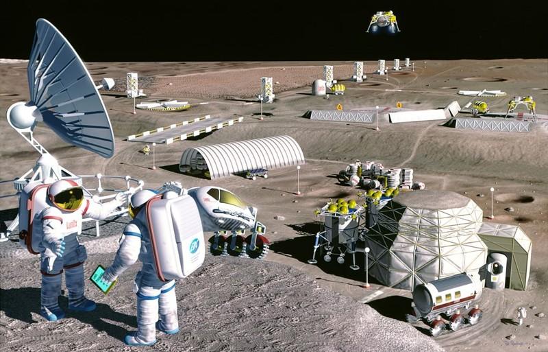 Representación artística de una colonia lunar