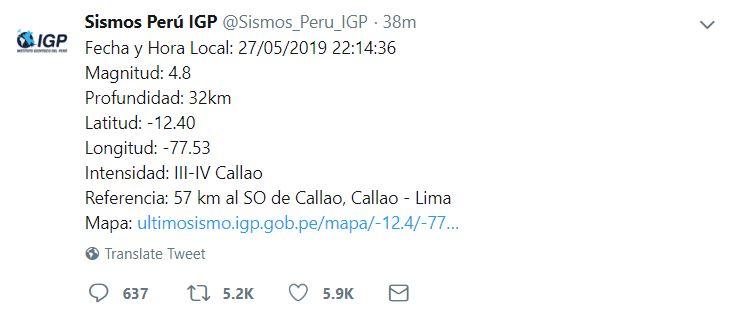 Temblor en Lima, Callao y Arequipa en Perú golpean con minutos de diferencia