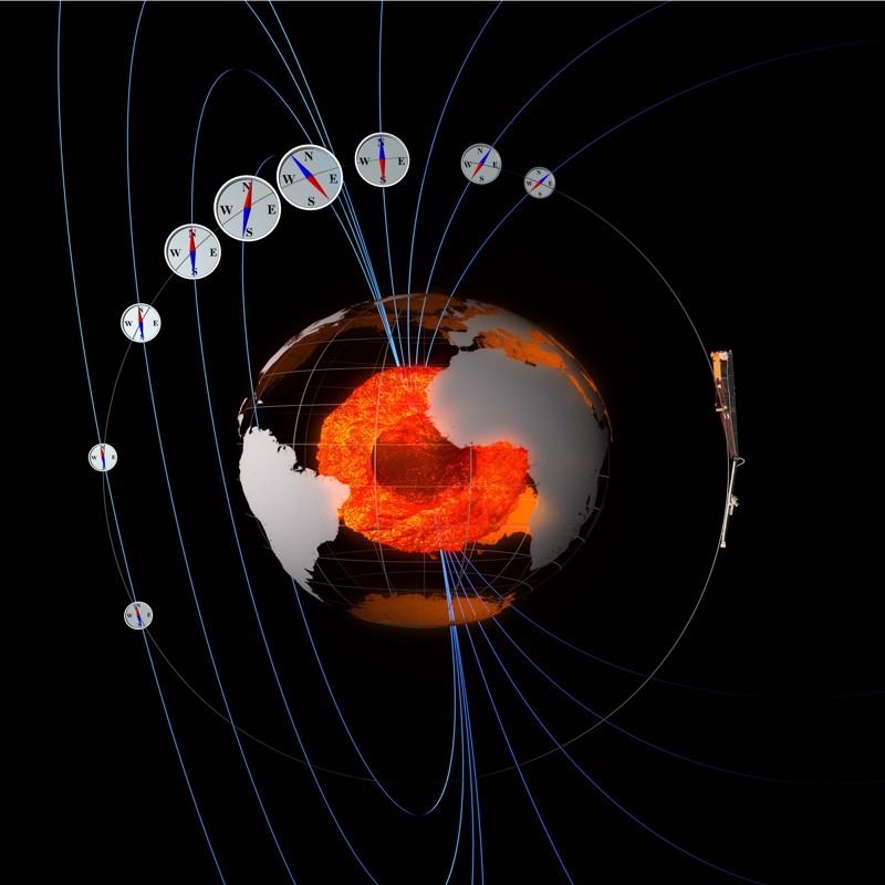 Como los «compases 3D», los satélites Swarm miden la fuerza y la dirección del campo magnético de la Tierra