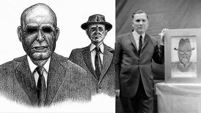 Bocetos de unos Hobres de negro, divisados por un testigo