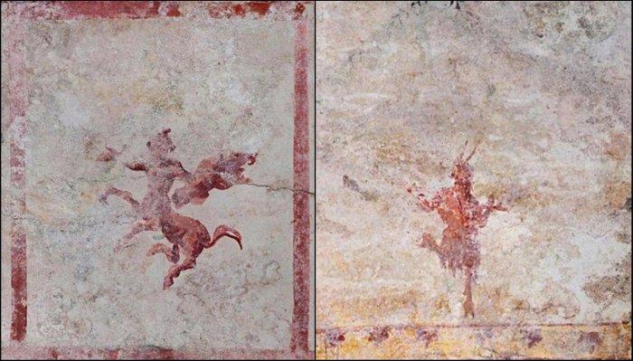 Un centauro (izquierda) y Pan (derecha).