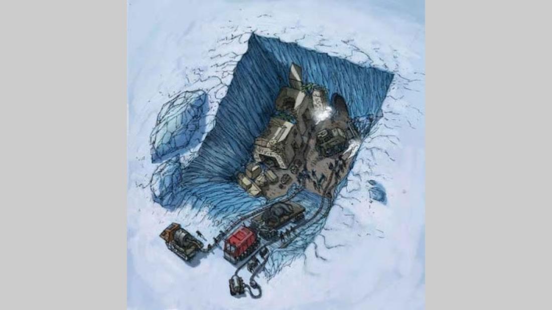 Recreación de la supuesta colonia marciana, oculta en la Antártida, recreada por Corey Goode
