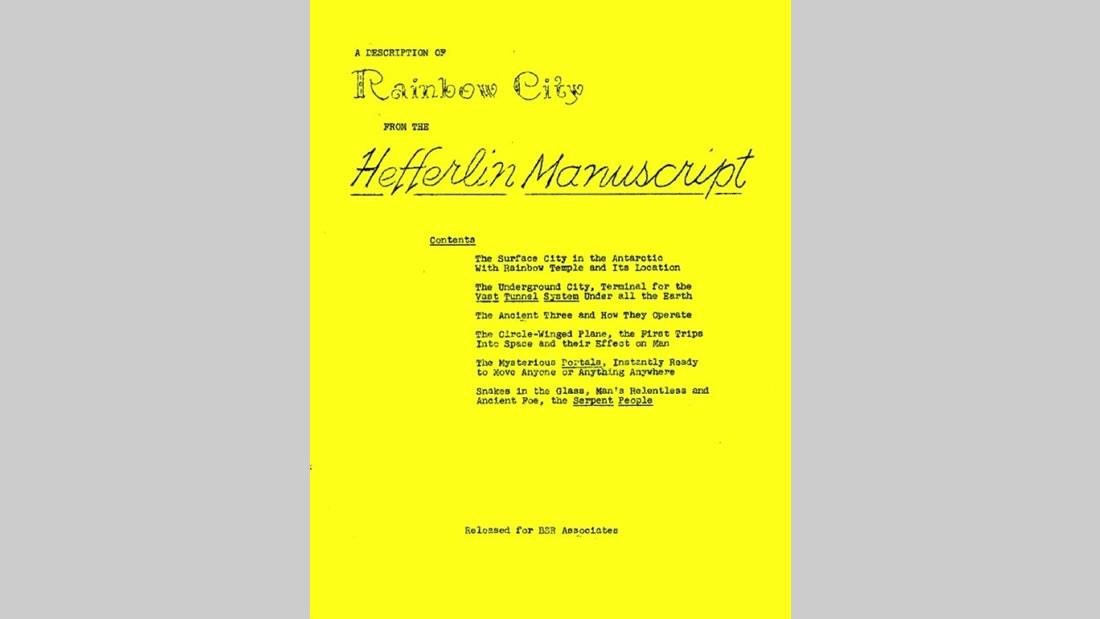 El increíble Manuscrito Hefferlin, reimpreso en 1960