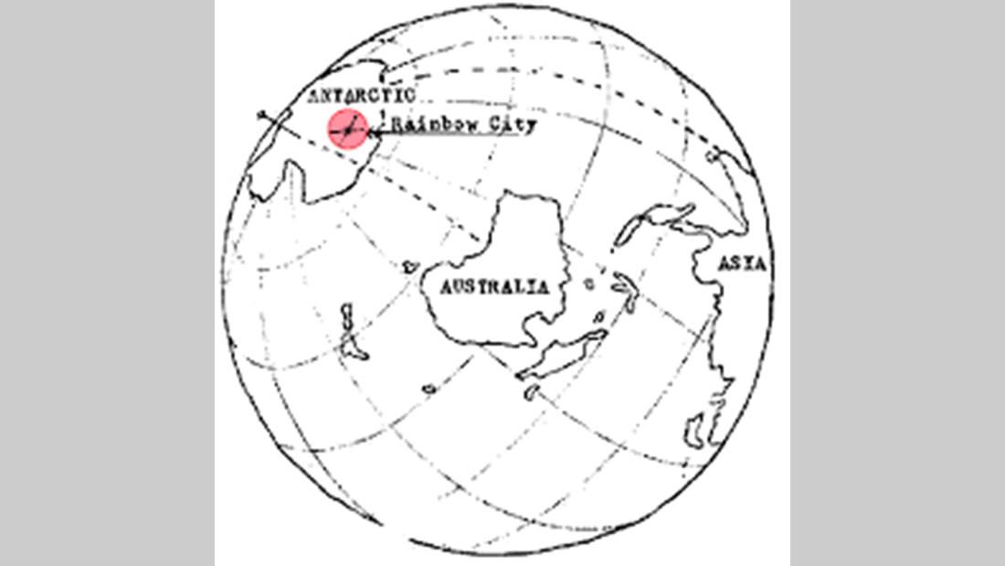 Mapa Impreso en el Manuscrito Hefferlin, señalando Rainbow City