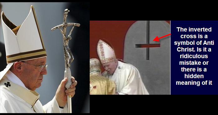 Izquierda: cruz doblada Papal. Derecha: cruz invertida