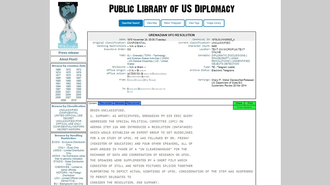 Uno de los incendiarios cables liberados por WikiLeaks en 2011, durante su cruzada UFO FILES