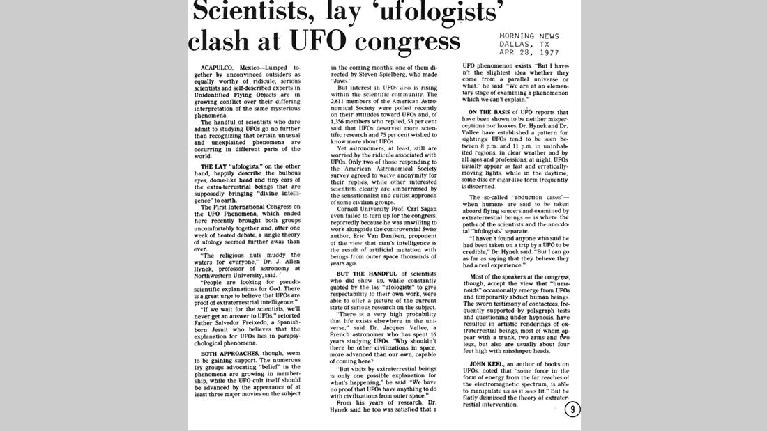 Artículo detallando el recordado Primer Congreso Mundial sobre Ovnis, realizado en Acapulco, México, 1977. El primer antecedente de los eventos de la ONU