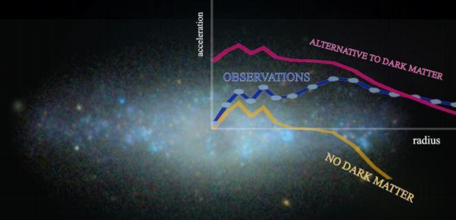 La aceleración en función del radio en NGC 4455, una de las galaxias estudiadas