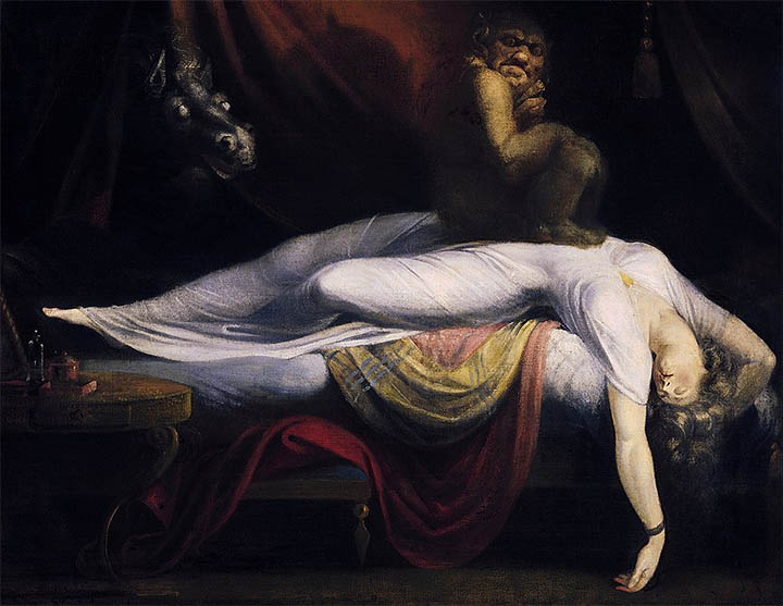 Un demonio y vampiro energético, similar a los parásitos astrales. Pintura de Henry Fuseli