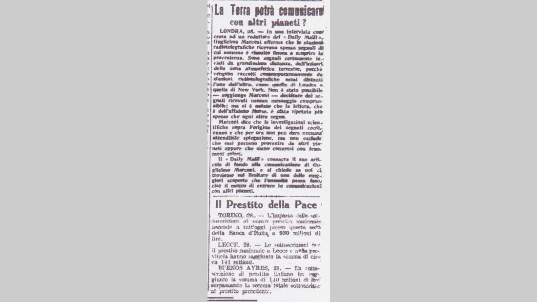 ¿La Tierra Podría Comunicarse con otros Planetas? Periódico Italiano Corriere delle Puglie, 1920, reproduciendo el artículo británico