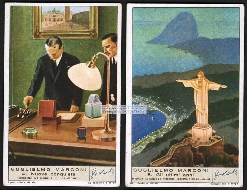 Postales Mostrando a Marconi, y el Cristo Redentor, 1930