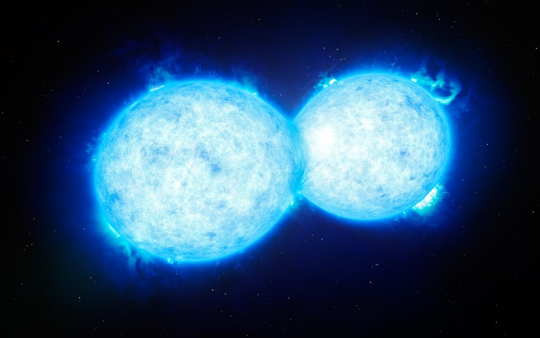 Representación artística que muestra a VFTS 352, el sistema de estrella doble más caliente y masivo hasta la fecha en el que los dos componentes están en contacto y comparten material