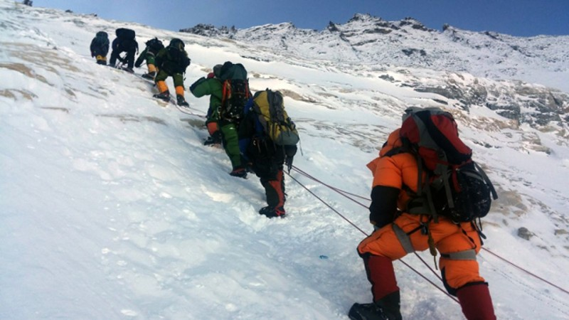 Escaladores en el Monte Everest