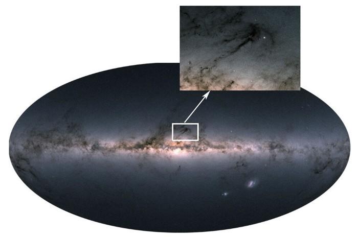 La región de la formación estelar Rho Ophiuchi observada por el satélite Gaia de la ESA. Los puntos brillantes son cúmulos estelares con las estrellas masivas y más jóvenes de la región