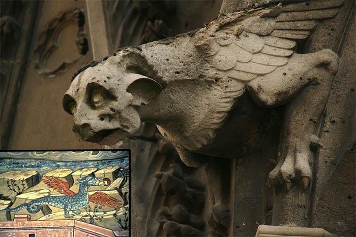 Imagen en grande: gárgola en la catedral de Notre Dame de París. En el recuadro pequeño: Un dragón comiendo a un ser humano, pintura de un monasterio griego ortodoxo, en el Monte Athos