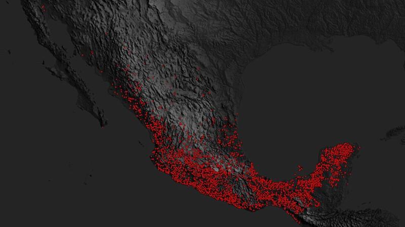 Visualización con incendios registrados en México del 10 al 12 de mayo por el satélite VIIRS de la NASA