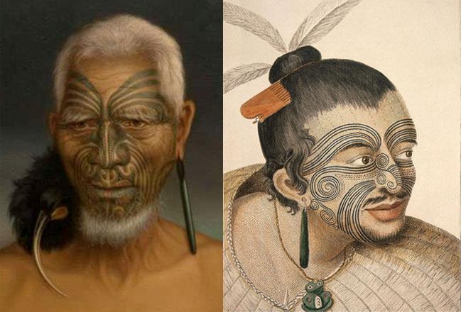 Izquierda: fotografía de un aborígen maorí. Derecha: retrato de un maorí, de 1784
