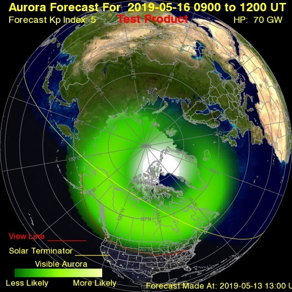 El pronóstico de la aurora para el 16 de mayo de la National Oceanic and Atmospheric Administration (NOAA)