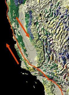 Mapa de la falla de San Andrés, que muestra movimiento relativo