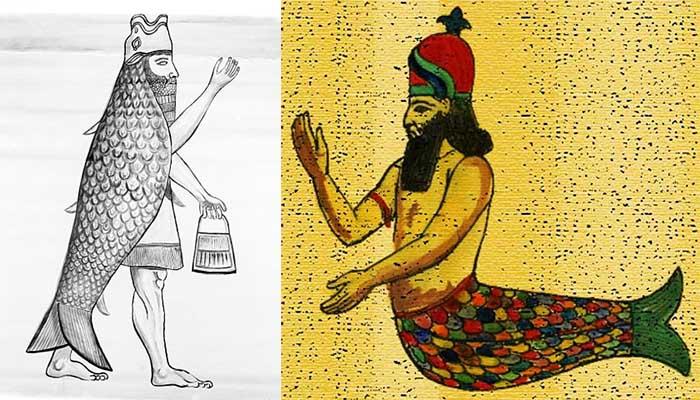 Ilustraciones de Dagón, dios filisteo semítico relacionado a Oannes