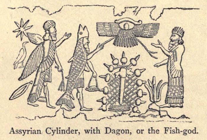 Grabado de un cilindro Asirio, con el dios pez, un árbol místico y una deidad aérea