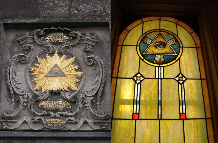 Izquierda: portal de la catedral de Aachen, Alemania. Derecha: ventanal de una iglesia en Fifield, Wisconsin