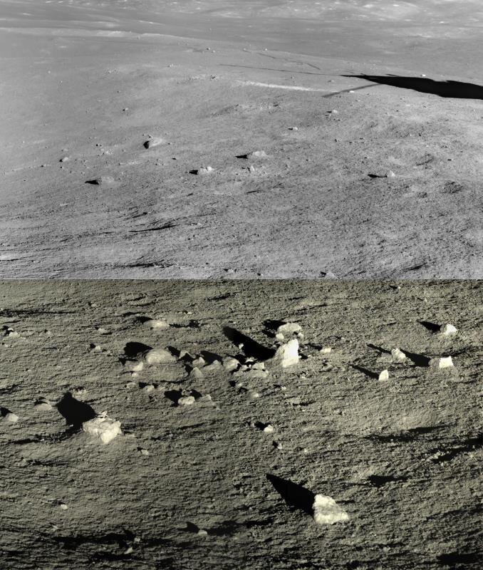 Una imagen capturada por Chang'e 4 muestra el paisaje cerca del lugar de aterrizaje