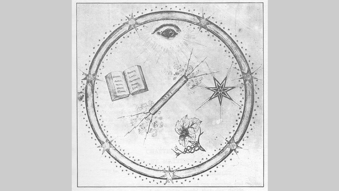 Grabado de la misteriosa Hermandad Lotiniana, orden oculta bajos los subsuelos de Shasta