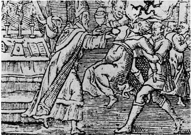 Un grabado en madera de 1598 muestra un exorcismo realizado a una mujer con un demonio emergiendo de su boca
