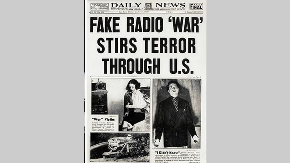 El 30 de octubre de 1938, la Legendaria transmisión radial de «La Guerra de Los Mundos» provocó el caso más famoso de histeria colectiva en Estados Unidos