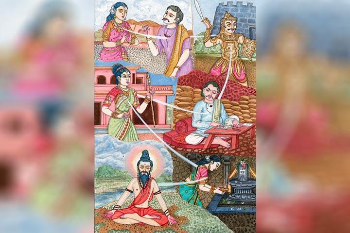 La reencarnación representada en el arte hinduista