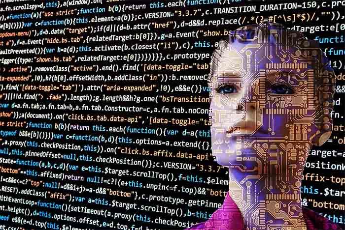Ilustración de transferencia de información del cerebro humano a una computadora