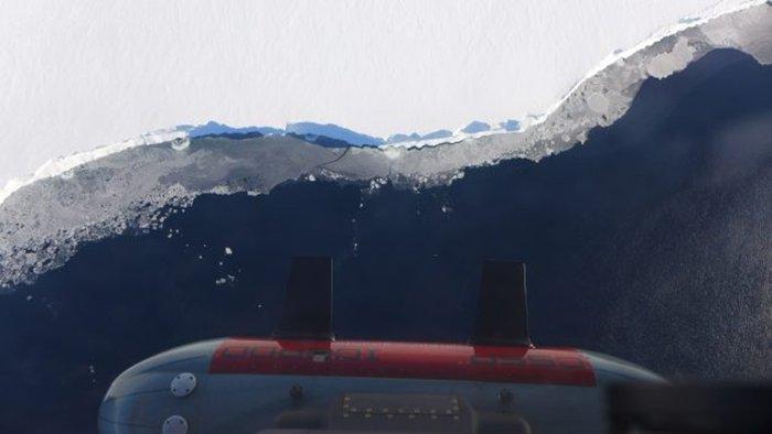 Una vista de la plataforma de hielo Ross de IcePod