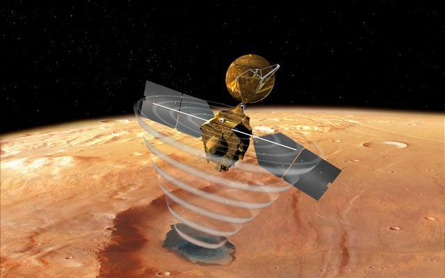 El Shallow Radar (SHARAD) a bordo del Mars Reconnaissance Orbiter busca límites geológicos en las primeras decenas a miles de metros (hasta 4 kilómetros) por debajo de la superficie de Marte