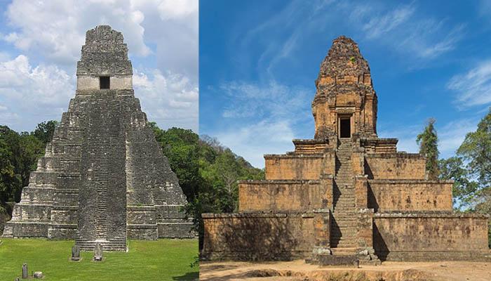 Izquierda: Templo del Gran Jaguar, en Guatemala. Derecha: Templo de Baksei Chamkrong, en Camboya