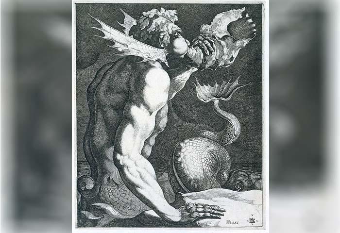 Ilustración de un tritón, de la mitología griega, similar al semidios pez