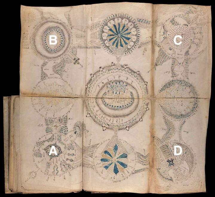 La viñeta A ilustra el volcán en erupción que provocó la misión de rescate y el dibujo del mapa. Se levantó del fondo marino para crear una nueva isla con el nombre de Vulcanello, que más tarde se unió a la isla de Vulcano luego de otra erupción en 1550. La viñeta B representa el volcán de Ischia, la viñeta C muestra el islote de Castello Aragonese y la viñeta D representa la isla de lipari. Cada viñeta incluye una combinación de imágenes ingenuamente dibujadas y algo estilizadas, junto con anotaciones para explicar y agregar detalles. Las otras cinco viñetas describen más detalles de la historia