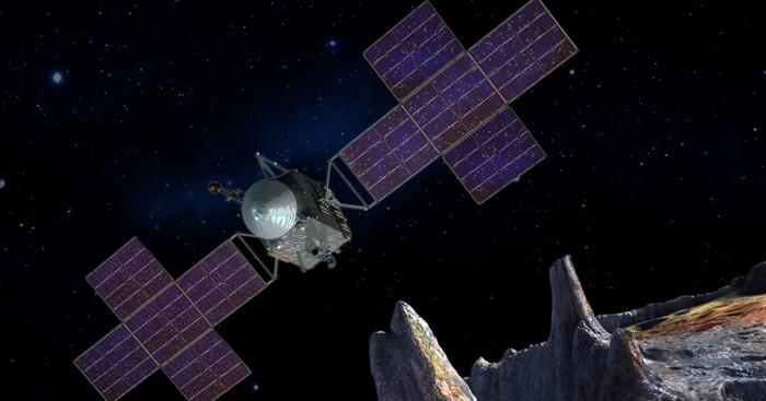 Representación artística de la nave de exploración de la misión Pyche de la NASA, cerca del objetivo, el asteroide metálico