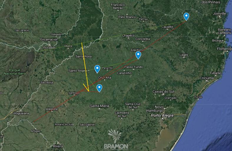 Mapa de la dirección seguida por el meteoro
