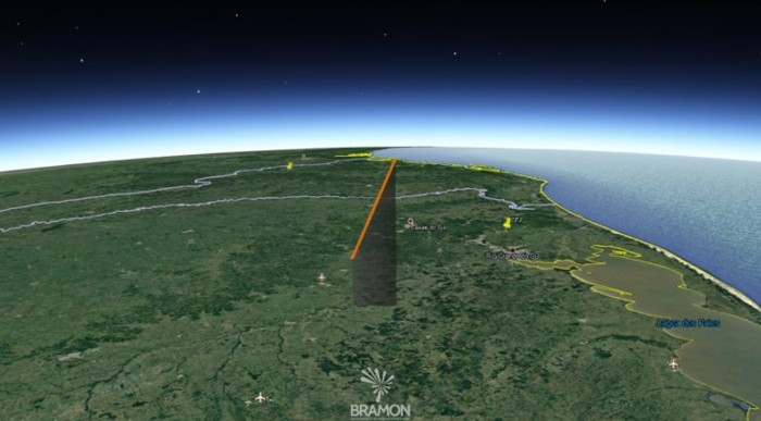Mapa de la dirección seguida por el meteoro el día 7 de junio