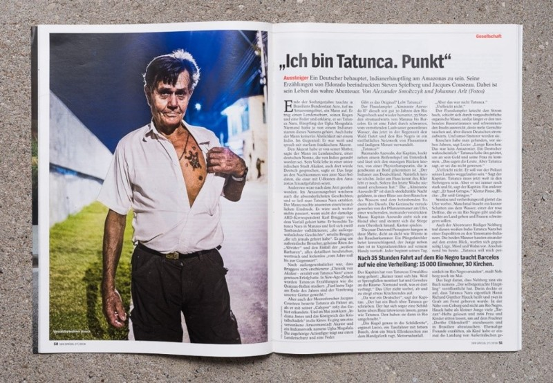 Hansi Richard Günter Hauck, quién huyó de Alemania, para evitar pagar la mantención de su primera familia. Aquí posando con su famoso tatuaje, la serpiente de Agua (Tatunca Nara)
