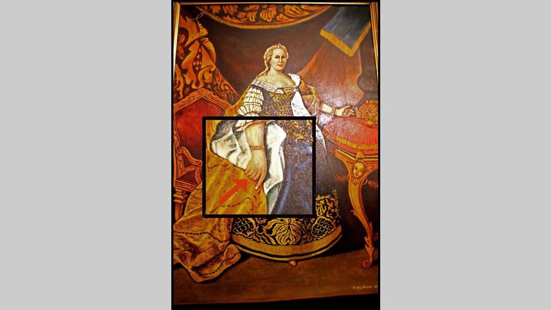 Extraño retrato de la emperatríz austríaca María Teresa, S.XVII, de quién se sospecha, tenía seis dedos