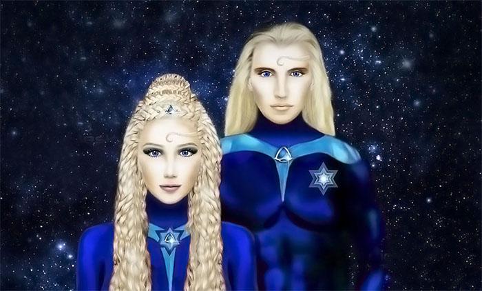 Ilustración de los alienígenas Nórdicos descritos por contactado