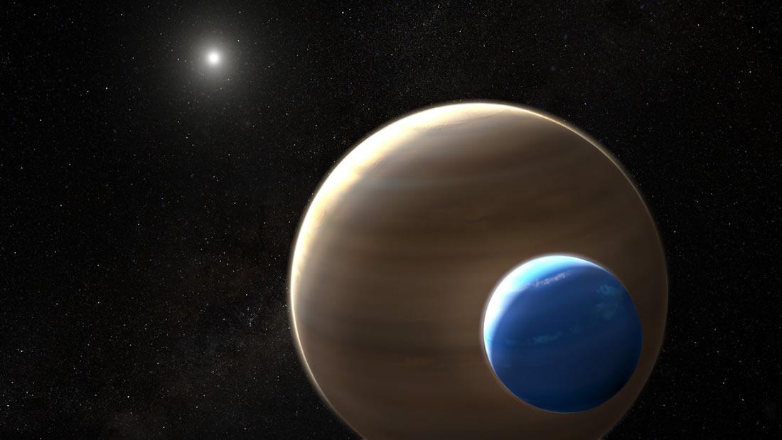 Representación artística de la posible exoluna Kepler-1625b-i, el primer candidato a exoluna, una luna fuera de nuestro sistema solar