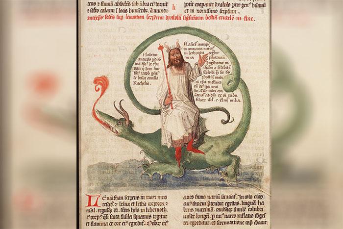 Ilustración del Anticristo sentado sobre Leviatán